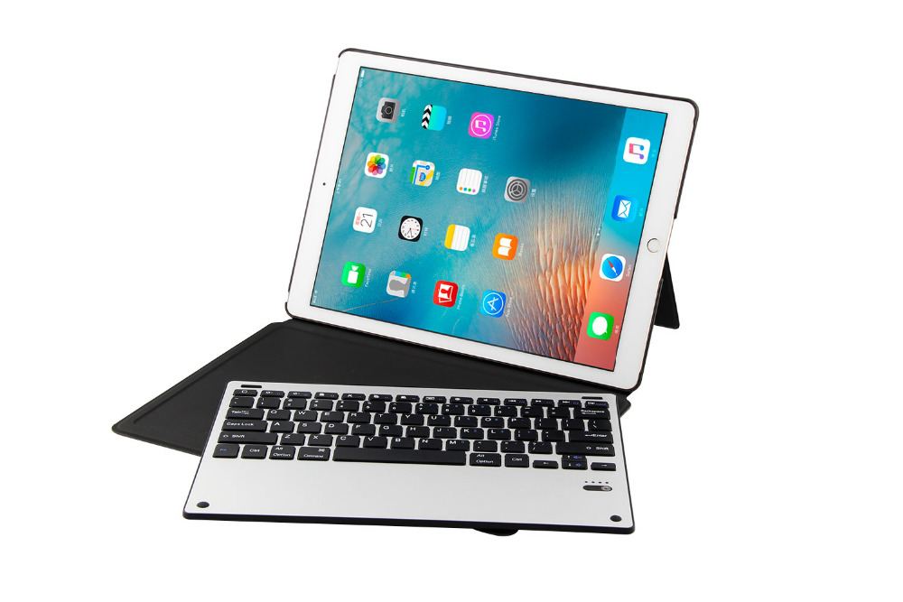 Ultra Thin Detachable Metal Wireless Bluetooth Keyboard Dock Case Stand Leather Smart Cover For Apple iPad Pro 12.9 2017 / 2015 new detachable official removable original metal keyboard station stand case cover for samsung ativ smart pc 700t 700t1c xe700t