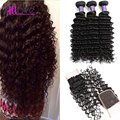 Mink Peruvian Deep Wave With Closure 8A Peruvian Virgin Hair With Closure 3 Bundles With Closure Human Curly Hair With Closure