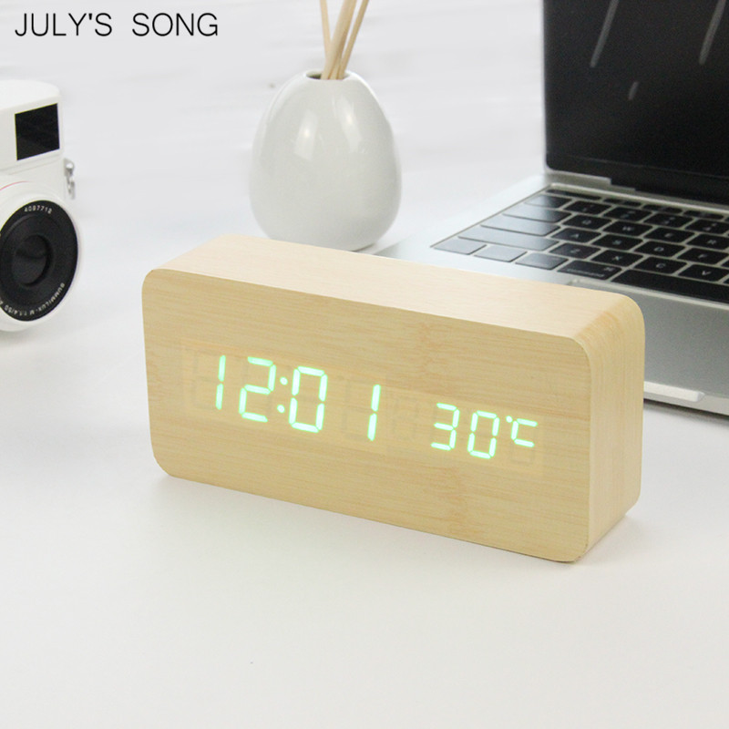 JULY'S SONG LED Clock Wooden Digital Alarm Clock Night Light LED Display Temperature Table Clockes Desk Electronic Despertador image