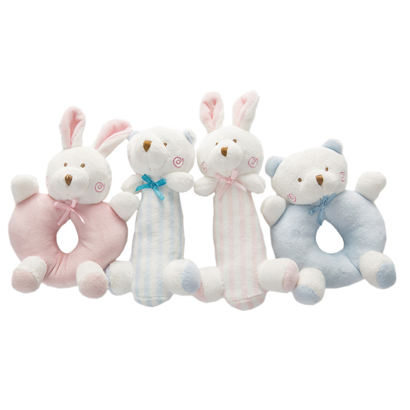 Cartoon Newborn Baby <font><b>Toy</b></font> Plush Rattle Infant Ring Bell Hand Grasp <font><b>Toys</b></font> Soft Mobiles <font><b>New</b></font> <font><b>born</b></font> Crib Dolls Baby <font><b>Toys</b></font> 0-12 months image
