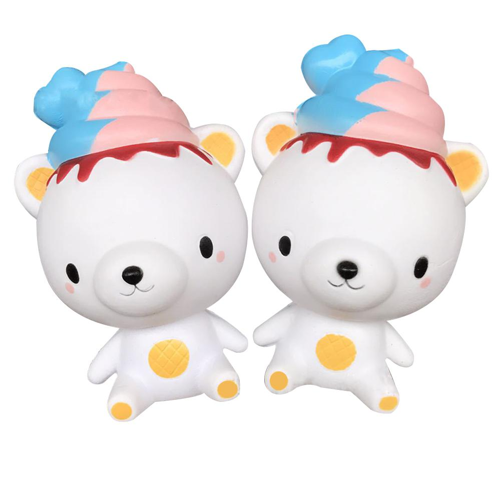 1pc Lovely Slow Rising Squishy Simulation Ice Cream Bear Decoration Soft Squeezed Scented Toys Gifts For Kids & Adults
