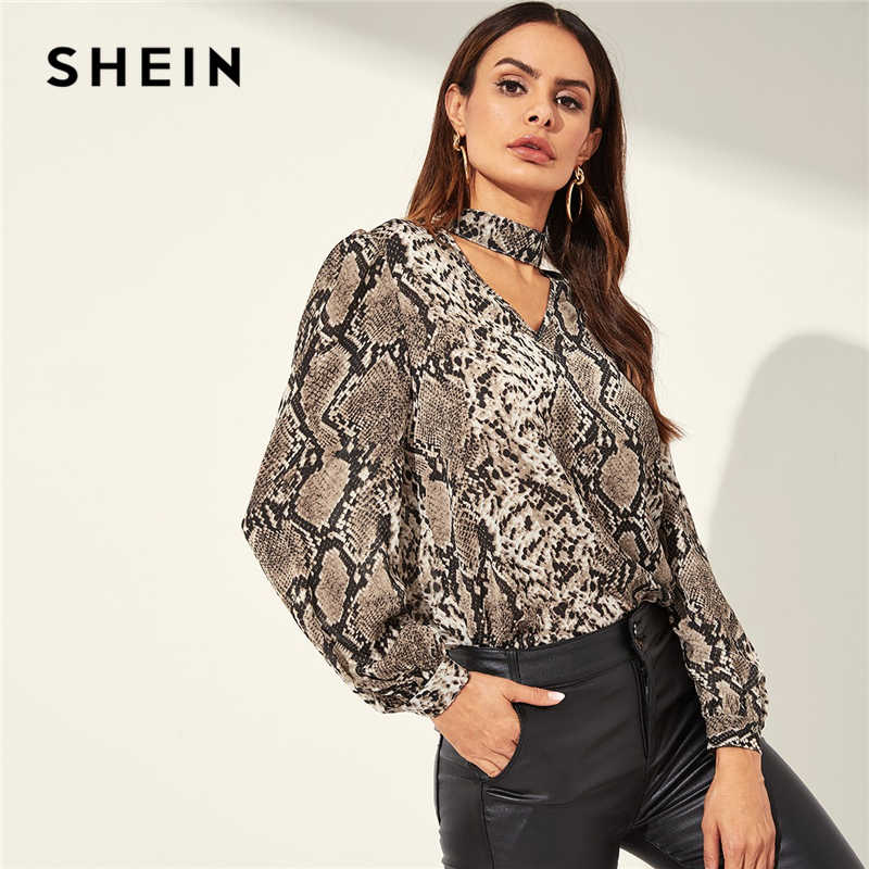 SHEIN Snake Animal Pattern Choker Neck Cut Out Multicolor Top Casual V-neck Long Sleeve Blouse Women Spring Plain Top Blouses