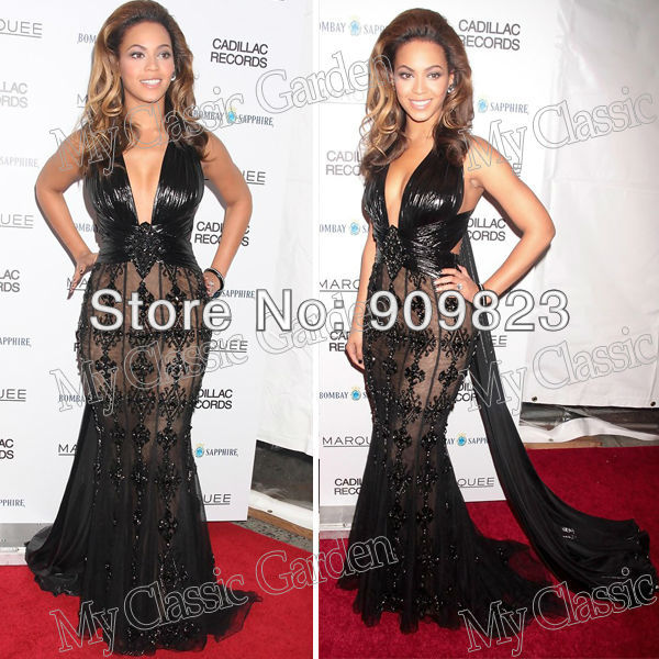 7894166478a6 Beyonce Knowles Deep V Neck Ruffles Designer Lace Natural Waist Full Length  Mermaid Formal Lace Celebrity Dresses Gowns