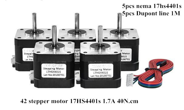 Free Shipping 5pcs Nema17 Stepper Motor 42 motor Nema 17 1.7A (17HS4401S) motor for CNC XYZ 3D printer 4-lead with DuPont lineFree Shipping 5pcs Nema17 Stepper Motor 42 motor Nema 17 1.7A (17HS4401S) motor for CNC XYZ 3D printer 4-lead with DuPont line
