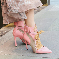 Genuine Leather Patchwork Lace Up Women SummerAnkle Boots Stiletto Heels Pointed Toe Pumps Runway Gladiator Shoes Woman Big Size