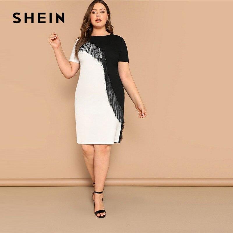 Шеин плюс размер бахрома спереди два тона карандаш платье для женщин летние выходные повседневные с коротким рукавом тонкий цветной блок м...
