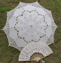 1SET ( UMBRELLA + FAN) 30'' Ivory FULL BATTEN LACE lolita SUN PARASOL WEDDING BRIDAL HANDMADE 2 DESIGN H106vs