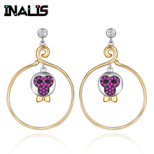 INALIS Authentic 925 Sterling Silver Fashion Round Circle Drop Earrings With CZ Classical Face Brincos Women Gold Plated Jewelry
