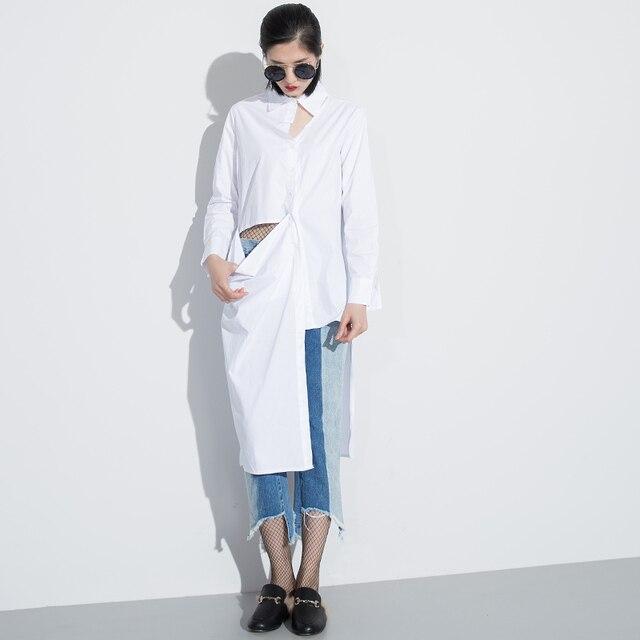 [Chicever] 2017 primavera assimetria cut oco desligar mulheres colarinho da camisa de manga longa blusas tops new fashion clothing