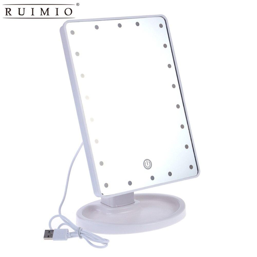 D30 Wir Nehmen Kunden Als Unsere GöTter Beleuchtete Make-up Spiegel Mit 22 Led-leuchten Touch Screen Dimmbare Usb Power Versorgung weiß