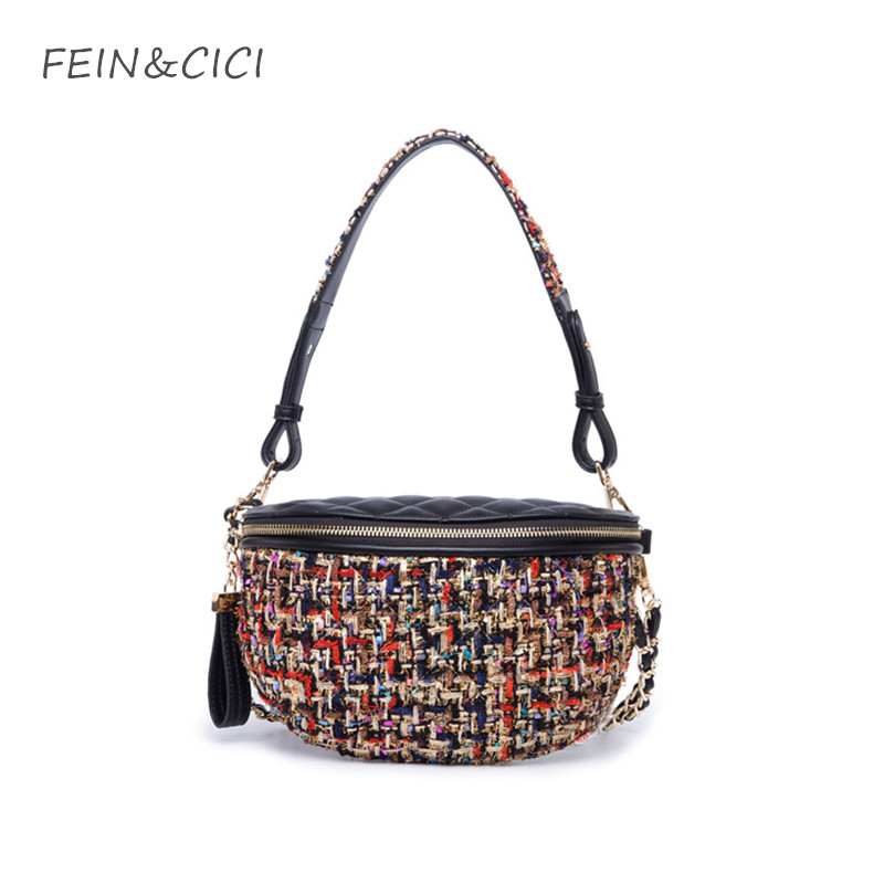 tweed chains bag shoulder bag women knitting canvas handbag luxury brand fashion Waist Pocket lady check plaid crossbody bags