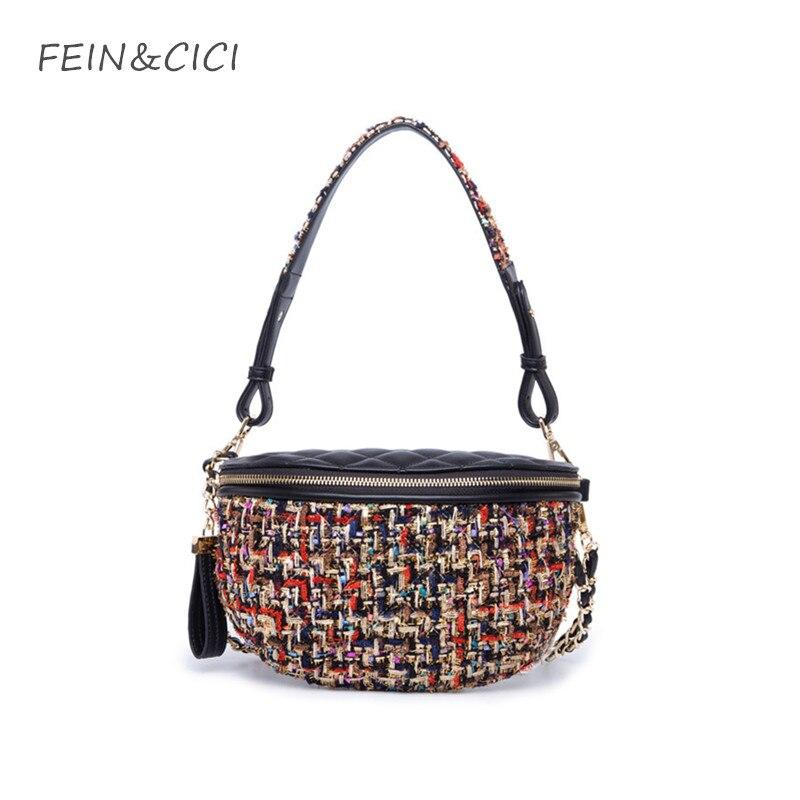 tweed chains bag shoulder bag women knitting canvas handbag luxury brand fashion Waist Pocket lady check plaid crossbody bags