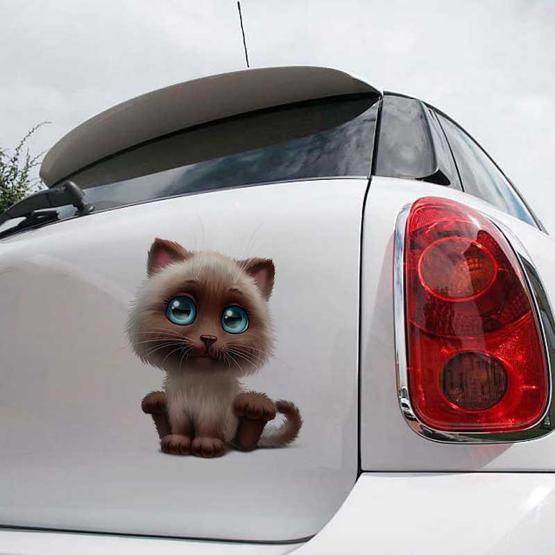 1ピースtancredyカスタマイズされた漫画面白いかわいい猫ステッカー反射オートバイステッカーカーウィンドウステッカーリアフロントガラスステッカー