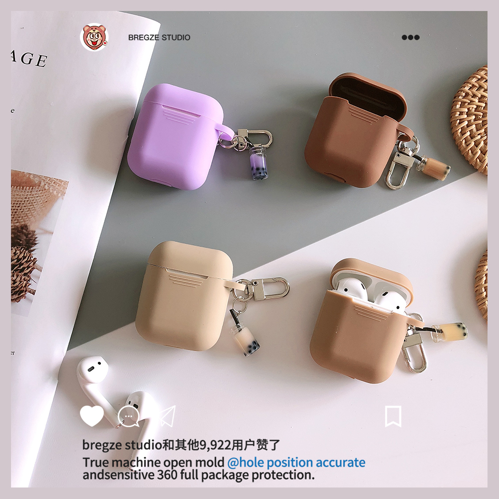 Image 1 - Girl's Shockproof silicone Cover With Bubble tea Pendant For Apple Airpods Soft TPU Protection Earphone Cases For New Air Pods 2-in Earphone Accessories from Consumer Electronics