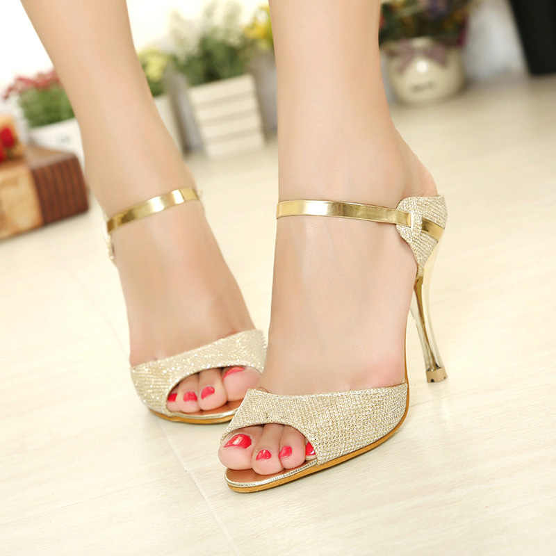 LAKESHI 夏の女性は小さなかかと結婚式の靴ゴールドシルバースティレットハイヒールピープトウシューズ女性ヒールサンダルの女性の靴