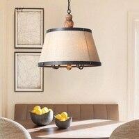 American Style Pendant Lamps Village Nordic Living Room Restaurant Retro Wood Decorated Lighting Pendant Lights ZA622