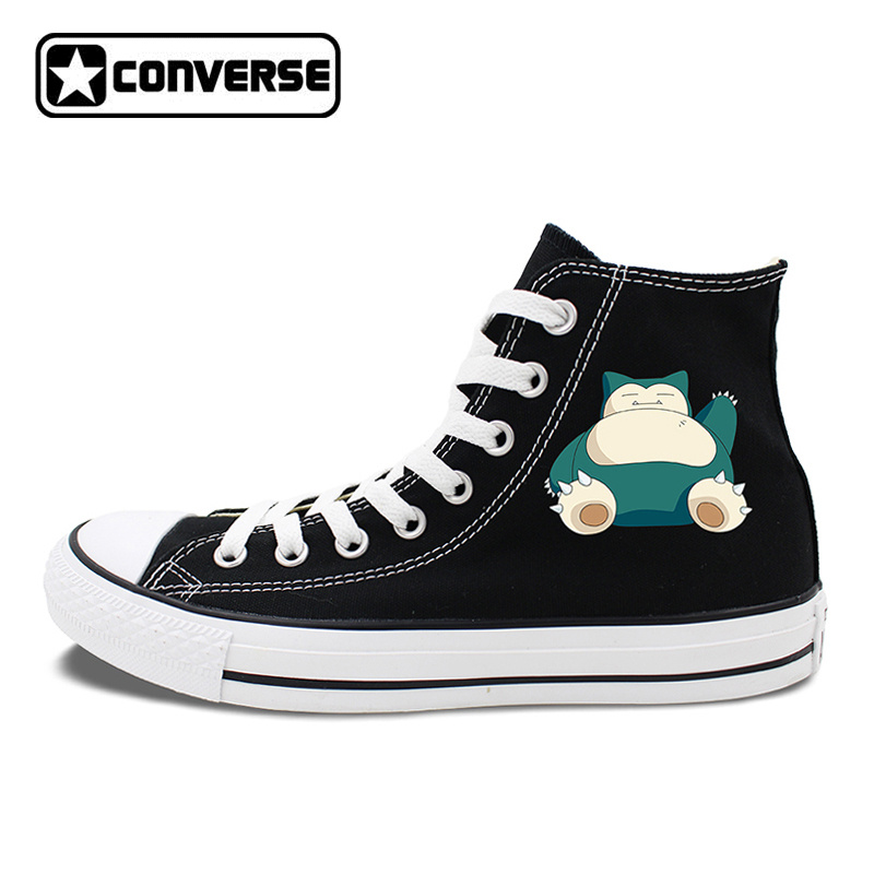 Anime Converse All Star Skateboarding Shoes Boys Girls Pokemon Snorlax White Black Canvas Sneakers Design 2 Colors anime converse all star skateboarding shoes boys girls pokemon snorlax white black canvas sneakers design 2 colors