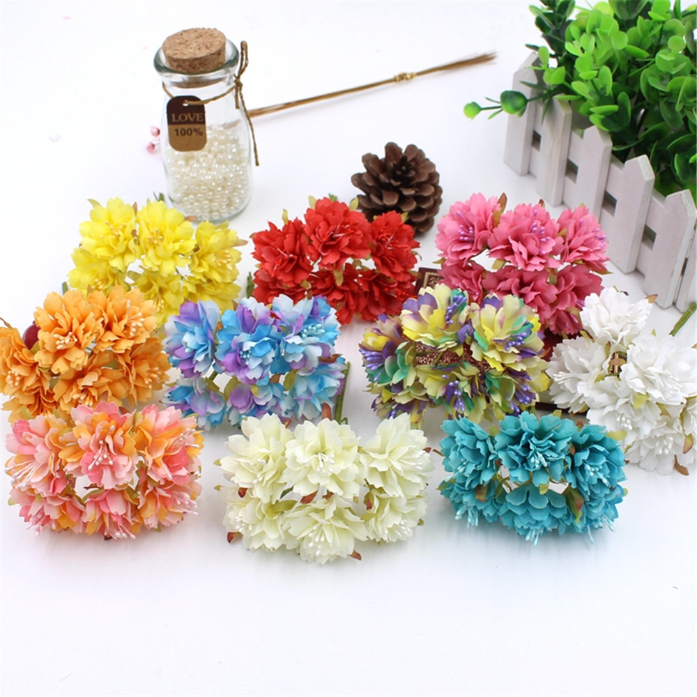 6 pcs / lot 13 Colors Silk Flower Artificial Cherry Small Branch Poppy DIY Scrapbooking Wedding Decoration Mini  Flowers