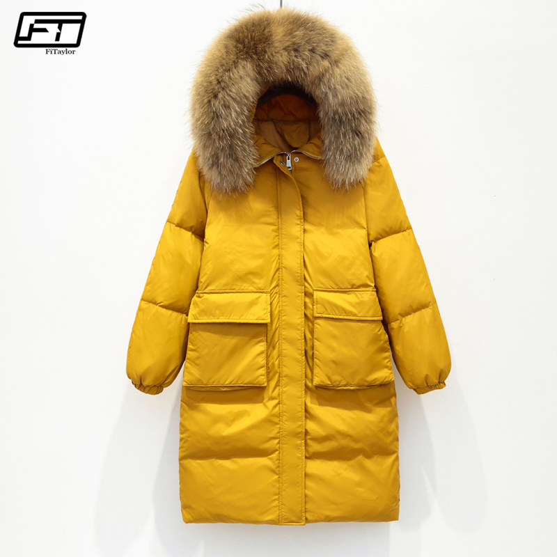 Fitaylor Winter Jacket Women Large Real Raccoon Fur Collar White Duck Down Long Parkas Coat Female Hooded Pockets Snow Outwear
