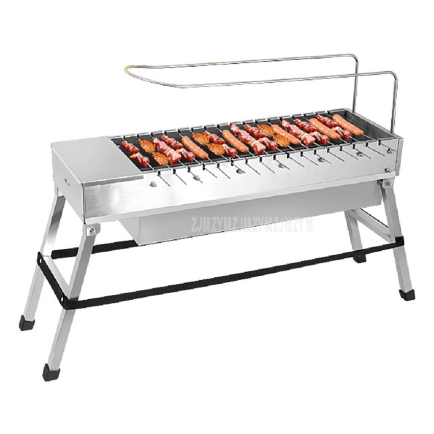 Stainless Steel Foldable BBQ Grill USB Electric Charcoal Grill Automatic Flip Barbecue Stove for Outdoor Picnic Home Garden Part