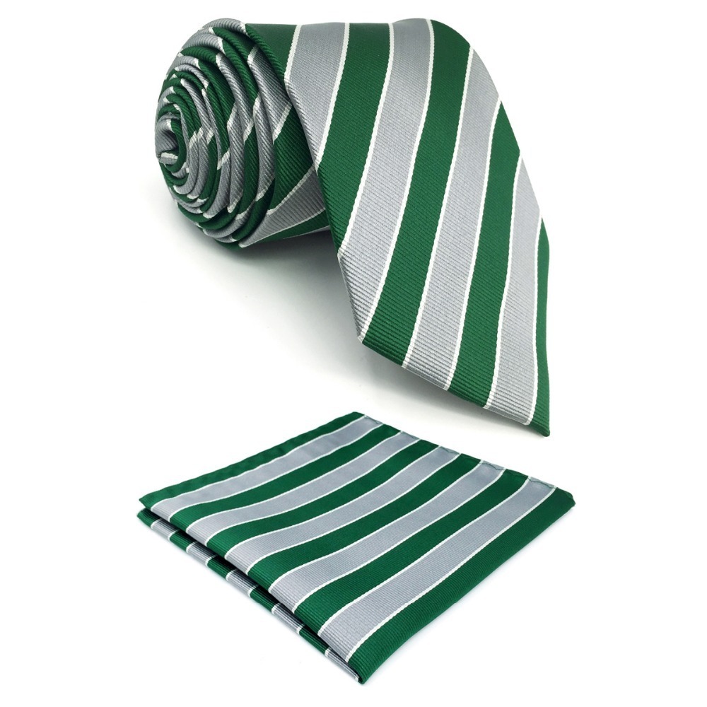 D31 Green Grey Striped Silk Mens Necktie Classic Novelty Extra long size 63 Groom Fashion Dress Ties for male Hanky