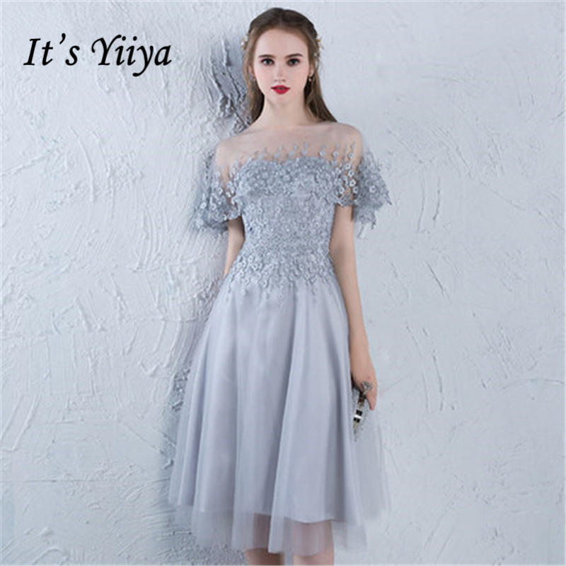 It's YiiYa 2018 O-Neck Fashion Designer Elegant   Cocktail   Gowns Sexy Illusion Flowers Lace Knee-Length   Cocktail     Dress   LX383