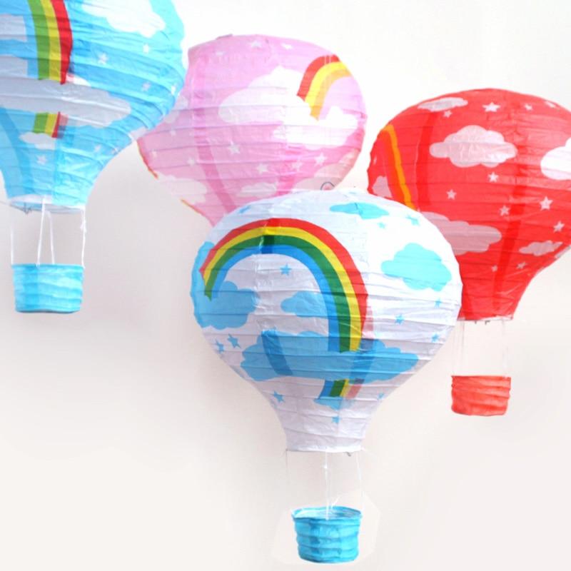 12 30cm Rainbow Hot Air Balloon Paper Lantern Kids Birthday Party Wedding Decoration Colours Festival Party Decor