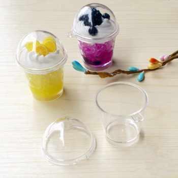 Tanduzi 100pcs Cups+100pcs Lids Wholesale Cute Round Tiramisu Mousse Clear Cup With Cover Artificial Parfait Cup DIY Deco Parts