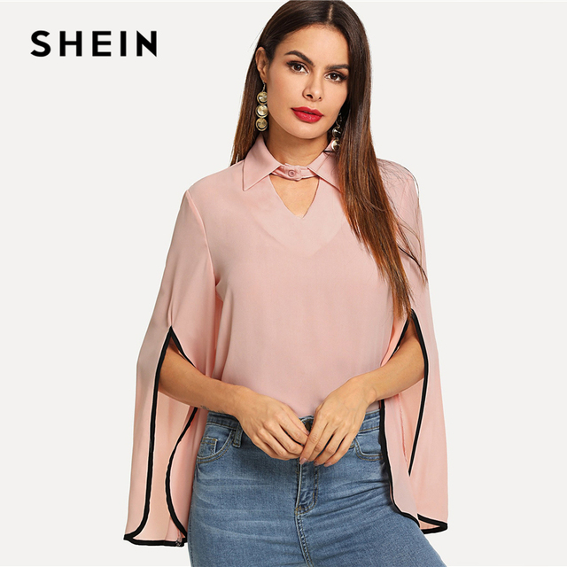 88a88884ea SHEIN Hot Pink Keyhole Front Split Bell Sleeve Top Elegant Workwear V Neck  Cut Out Blouse Women Autumn Button Long Sleeve Blouse