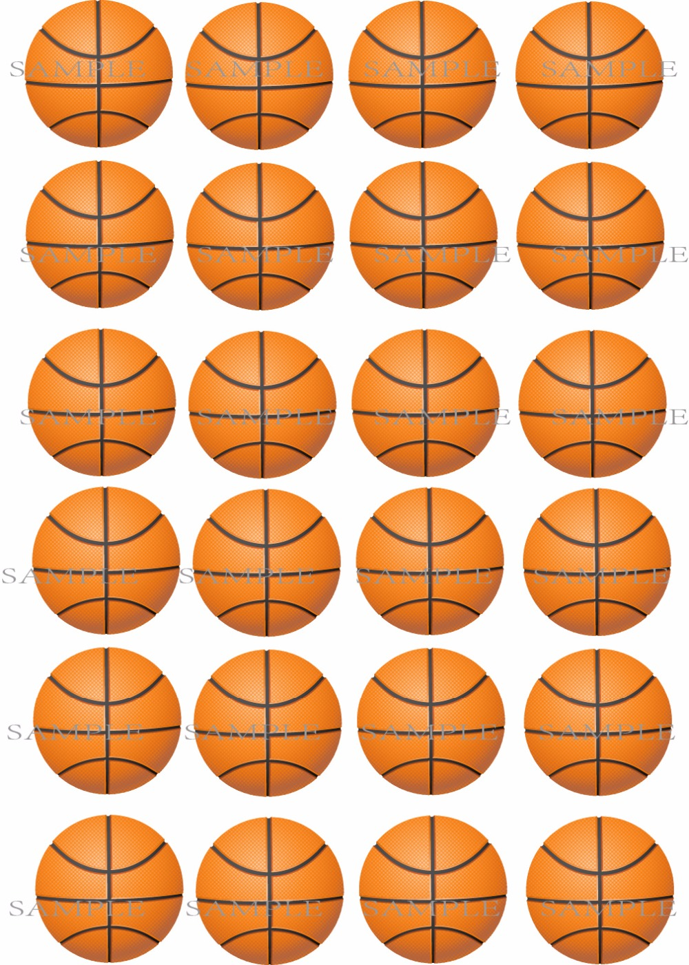 24 Basketball Sports Edible Cake Topper Wafer Rice Paper Cake Cookie