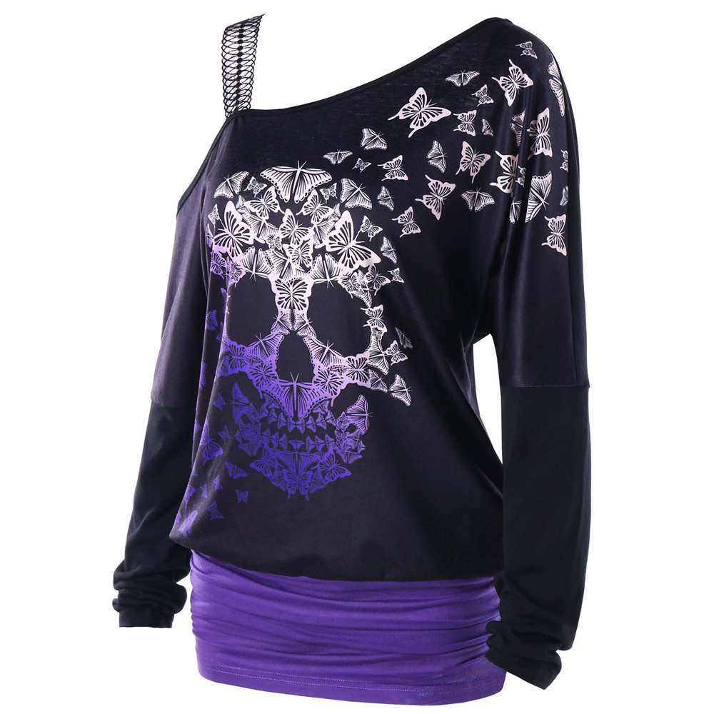 Women's Clothing Punk Style Sexy Off Shoulder Skull Printed Womens Blouses And Tops Criss-cross V-neck Bandage Shirt Long Sleeve Blusas Sj1285m