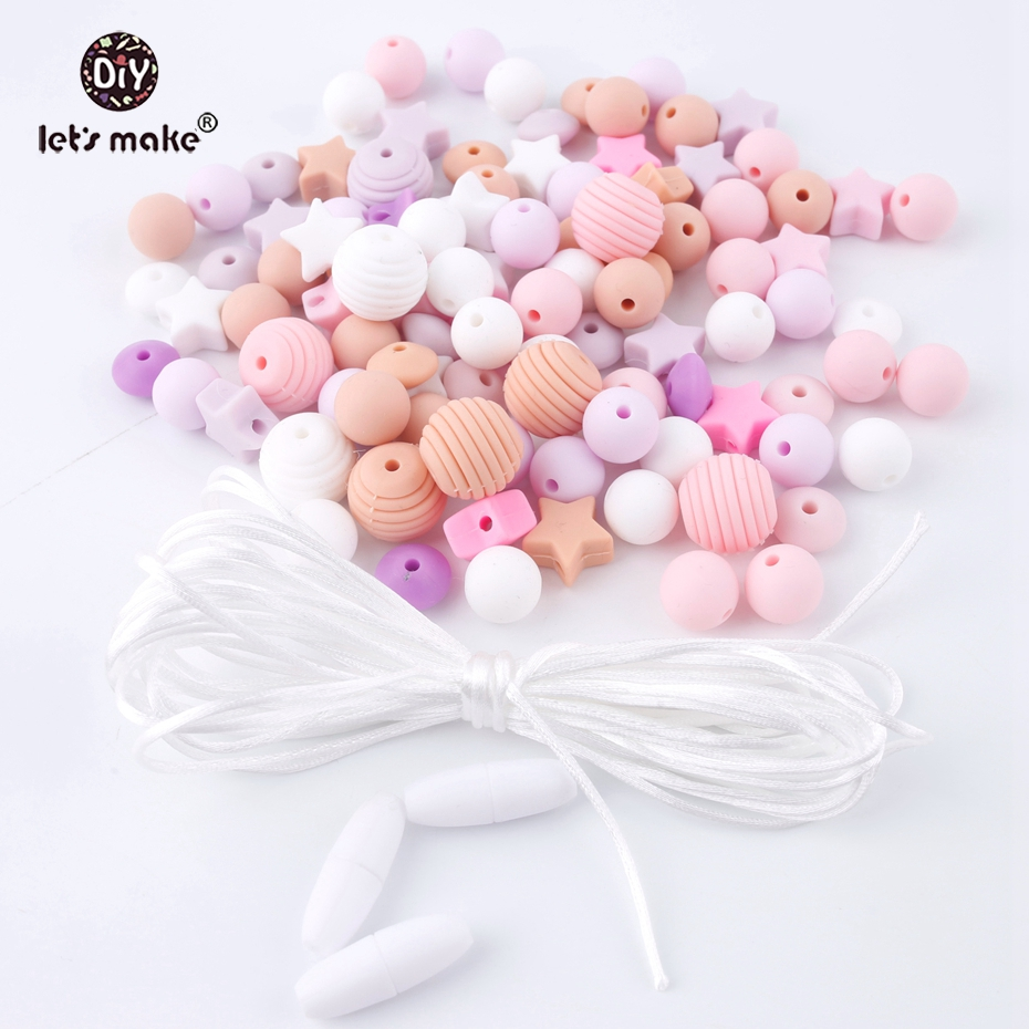 Let's Make 50pcs Screw Thread Carved Shaped Silicone Teether Beads Mini Star Can Chew DIY Beads Nursing Jewelry Accessories Set