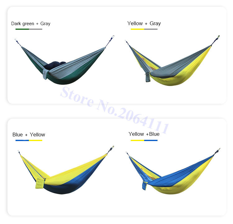Outdoor double Hammock Portable Parachute Cloth 2 Person hamaca hamak rede Garden hanging chair sleeping travel swing hamac 6