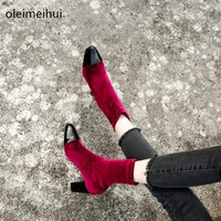 Women Graceful Soft Velvet Dark red Short Toe Ankle Boots Fashionable Dress Boots Thin High Heel Gladiator Boots Hot Selling