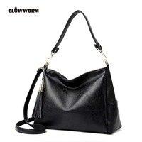 GLOWWORM Brand Genuine Leather Tassel OL Style Women Handbag Tote Bag Ladies Shoulder Bags Wholesale Price
