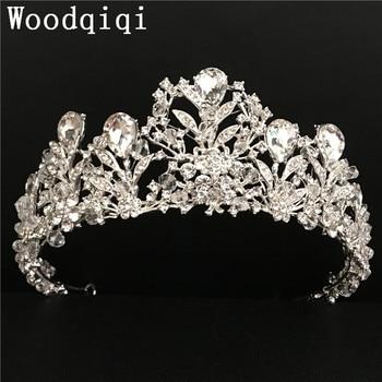 Woodqiqi accesorios para el cabello de coroa de rainha diademe joyería de novia tiaras barroco corona acessorios para novia mariage