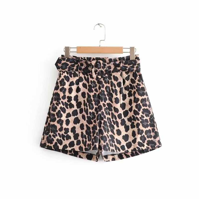 2018 Women Vintage Sexy Leopard Print Sashes Bermuda Shorts Ladies Zipper Casual Short Pants Chic Brand Pantalones Cortos P186