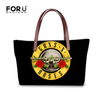 FORUDESGISNS Black Women Brand Handbag 3D Guns N Roses Woman Shoulder Bags Bolsas Femininas Ladies Cross