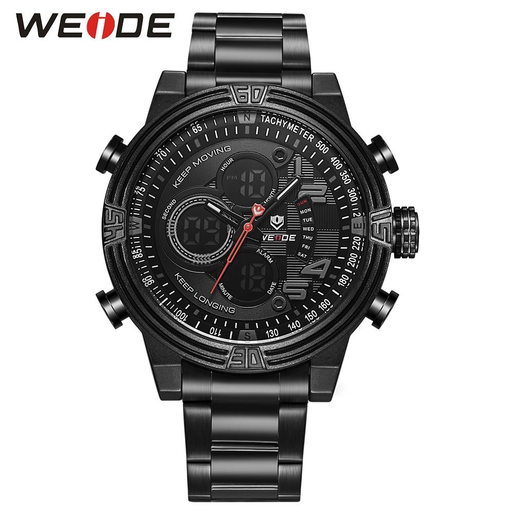 ФОТО WEIDE Famous Fashion Hot Sales Water Resistant Watch men  Quartz LCD Digital leather Movement  Watch Men Military Watch