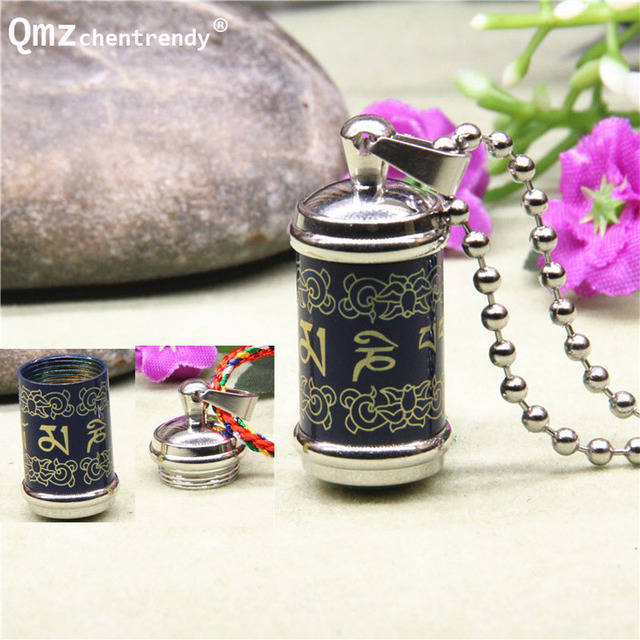 Titanium Buddhism Memorial Jewelry Six Word Rotatable Pendant