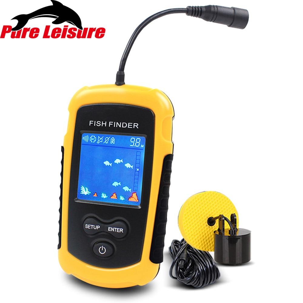 Sonar de pêche PureLeisure Alarme sans fil pêche carpe sondeurs écho sondeur FFC1108-1 chanceux détecteur de poisson transducteur 100 M FF02