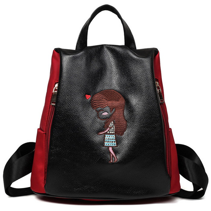 Cartoon Lovely Girl PU Leather Backpack Fashion Girl Soft Handle Embroidered Characters Pattern Zipper Bags