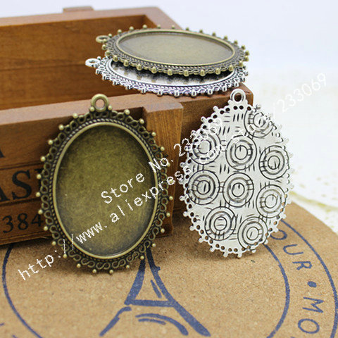 (10 pieces/lot) two color  Metal Filigree Lace 30*40mm Oval Cabochon Pendant Settings Jewelry Blank Charms T0071