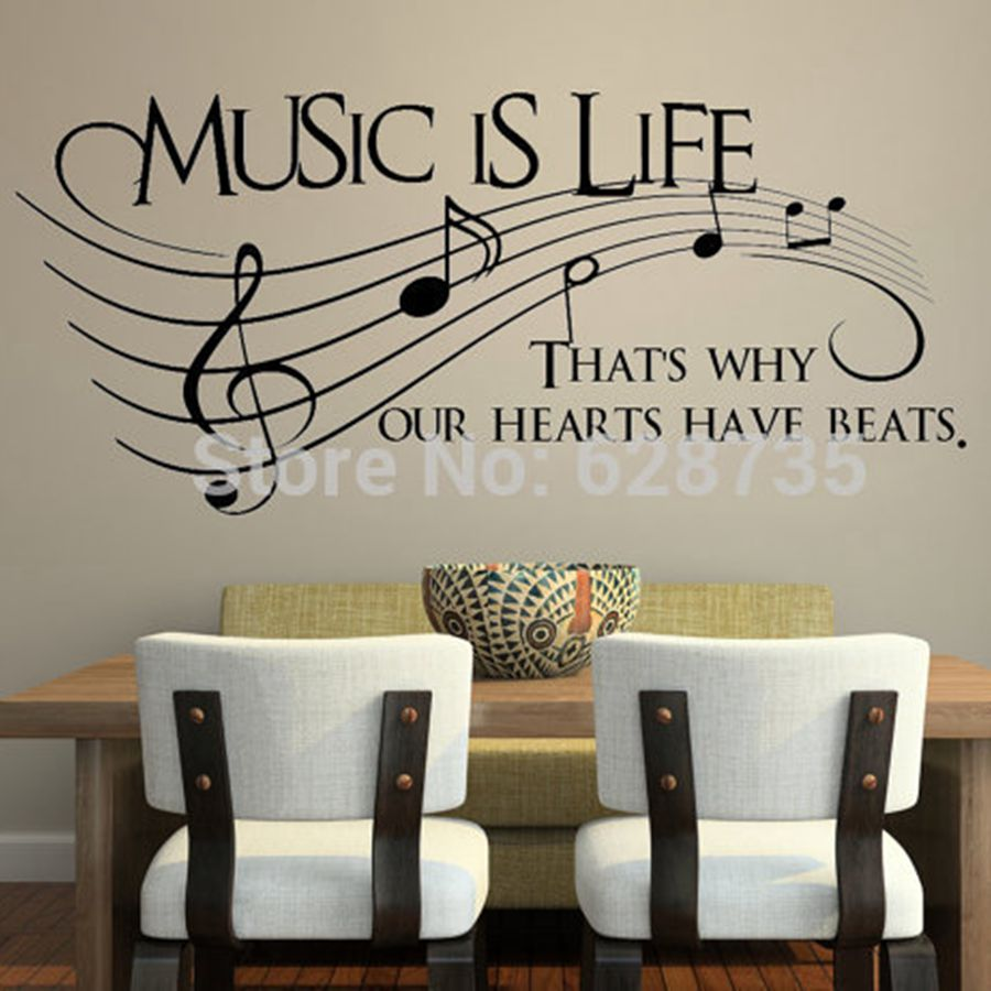 High Quality Music Is Life.. Thatu0027s Why Our Hearts Have Beats   Vinyl Wall Decal Sticker Part 12