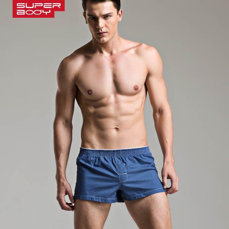 Men's Superbody Men's Cotton Plaid Leisure Wear Home Furnishing Abdomen Arrow Shorts