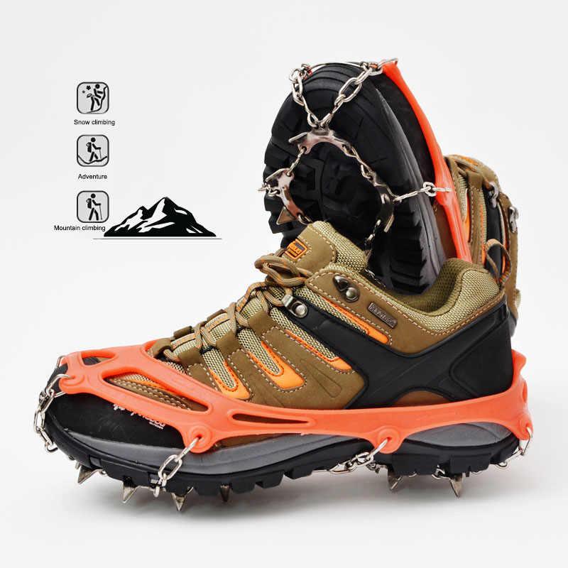 Уличная обувь из нержавеющей стали с 13 зубцами, скалолазание по льду, снежные когти, зимняя Улучшенная нескользящая обувь, сумочка для флешки с цепочкой