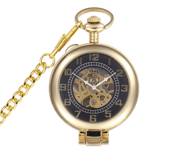 Classis Lead Golden Style Men's Magnifying Glass Mechanical Pocket Fob Watch With Chain XMAS Gifts