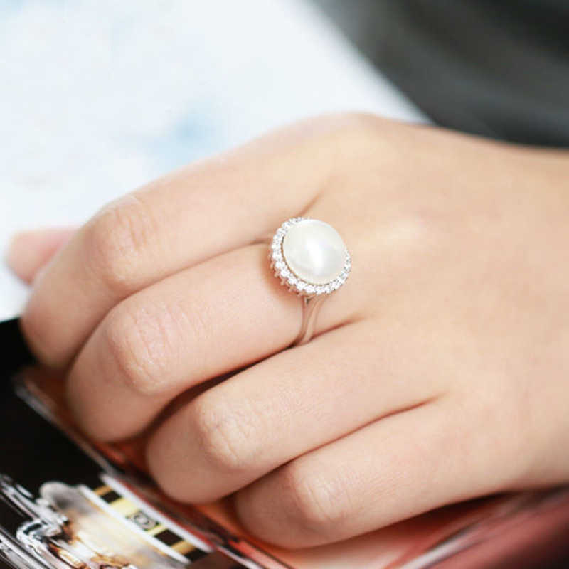 DMCRFP017 11-12MM שמש פרל טבעת אמיתי 925 סטרלינג כסף טבעת נשים מתנה