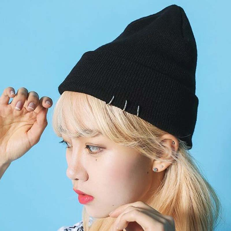 1 Pcs Korean New Ring Rivet Knitted Caps Autumn Winter   Skullies     Beanies   Keep Warm Hats For Women And Men 2 Colors