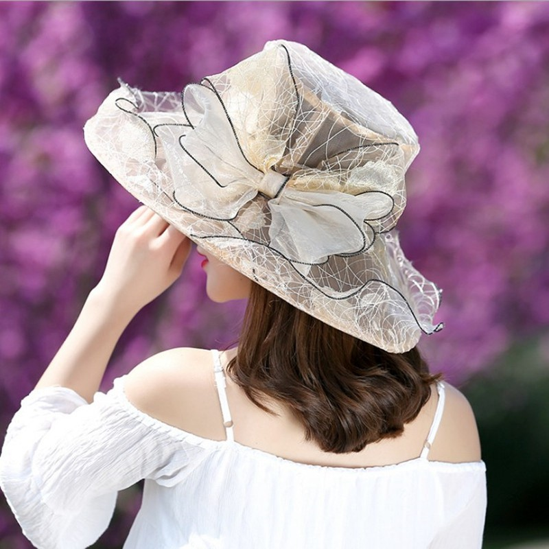 Elegant Fashion Womens lace Church Hats For Women Flower Hat Summer Gorras Sun Hat Wedding Kentucky Derby Wide Brim Sea Beach